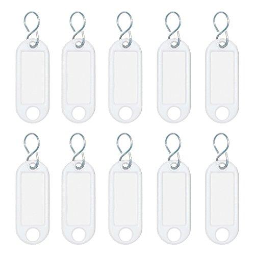 Wedo 262103400 Schlüsselanhänger Kunststoff (mit S-Haken, auswechselbare Etiketten) 10 Stück, weiß