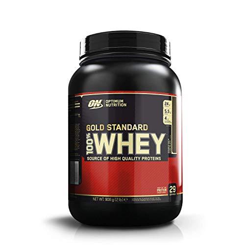 Optimum Nutrition ON Gold Standard Whey Protein Pulver, Eiweißpulver Muskelaufbau mit Glutamin und Aminosäuren, natürlich enthaltene BCAA, Double Rich Chocolate, 29 Portionen, 900g