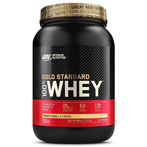 Optimum Nutrition ON Gold Standard Whey Protein Pulver, Eiweißpulver zum Muskelaufbau, natürlich enthaltene BCAA und Glutamin, French Vanilla Crème, 30 Portionen, 900g, Verpackung kann Variieren