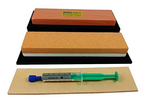 Schärf-Set für Messer/Abziehstein Korund + MissArkaUltra + Leder + Feinschleifpaste, mit rutschfesten Unterlagen