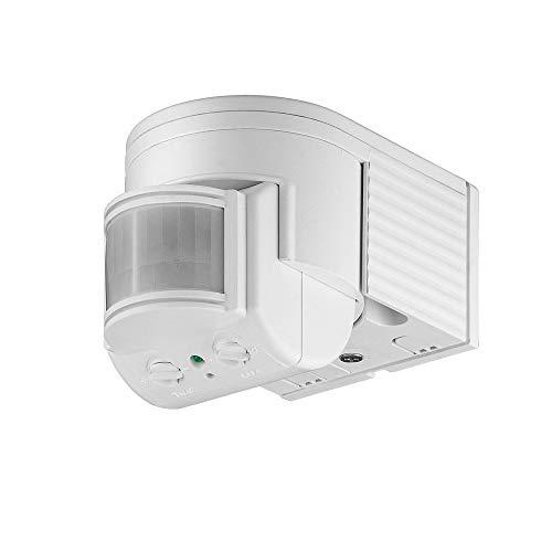 Goobay 95175 Infrarot Aufputz-Bewegungsmelder für Innen- und Außenbereich - 180° Arbeitsfeld - Reichweite bis 12m, Dreh-/Neigbarer Erfassungsbereich - IP44 Schutzklasse - Spritzwasser geschützt - Weiß