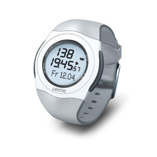 Sanitas SPM 25 Pulsuhr, EKG-genaue Herzfrequenzmessung, wasserdicht bis 30 Meter, Grau