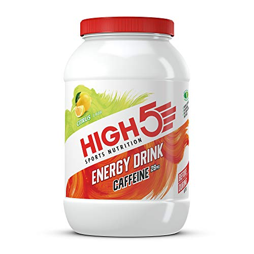 HIGH5 Energy Drink Caffeine, veganes, erfrischendes, isotonisches Sportgetränk mit Koffein aus Kohlenhydraten und Elektrolyten – Zitrus – 2,2kg