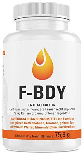 Vihado F-BDY - Grüne Kaffeebohnen, Grüner Tee, Guarana, 100 Kapseln, 1er Pack (1 x 75,9 g)