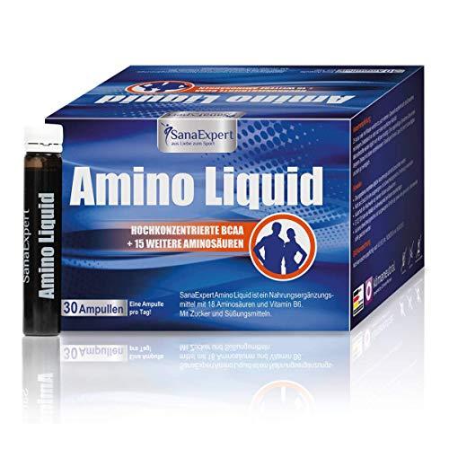 SanaExpert Amino Liquid, 10000mg Aminosäuren-Konzentrat, Nahrungsergänzung für Sportler, BCAAs, Vitamin B6, Ampullen à 25 ml, 30 Stück