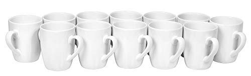 12 Kaffee-Becher Pot Tasse ø 8,5cm H 9,5cm Keramik Tassen weiß Rohling Tee-Tasse Cup VBS Großhandelspackung