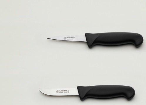"""Kaninchenschlachtmesser-Set 2-tlg. Stechmesser + Abhäuter je 8,5 cm = 4"""", Kunststoffgriff schwarz, Marsvogel Solingen"""