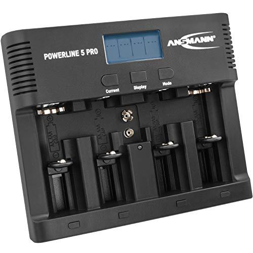 ANSMANN Akku-Ladegerät für 4x AA/AAA/C/D + 1x 9V-Block Akkus - NiMH Batterieladegerät mit 4 Ladeprogrammen: Laden/Entladen/Testen/Refresh