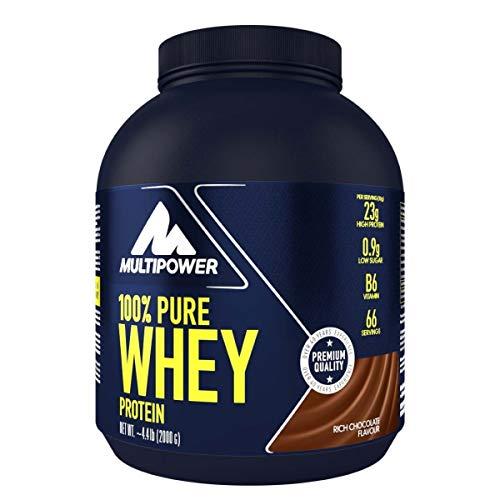 Multipower 100{9ad4ed38e977f501cfc52640cd4e9d39a8f460d6df3e6c4e59c66aafd36778bf} Pure Whey Protein – wasserlösliches Proteinpulver mit Schokoladen Geschmack – Eiweißpulver mit Whey Isolate als Hauptquelle – Vitamin B6 und hohem BCAA-Anteil – 2 kg