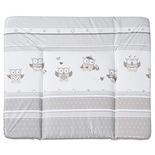 roba Folien Wickelauflage 'Eulenbabys taupe', weiche Wickelunterlage 85x75 cm, Baby Wickeltischauflage aus phtalatfreier Folie