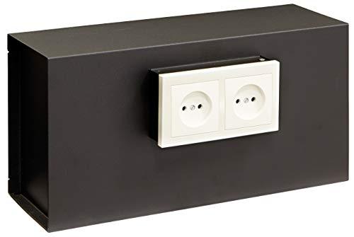 Arregui Socket 23000W-S1 Wandtresor, Getarnt hinter der Steckdosenplatte, 20x40cx13 cm, 12 L, schwarz