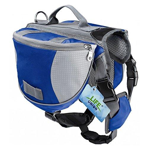 Lifeunion Hunde-Satteltaschen aus Polyester, für Reisen, Camping, Wandern, Rucksack, Satteltasche für kleine, mittelgroße und große Hunde S Blau + Grau