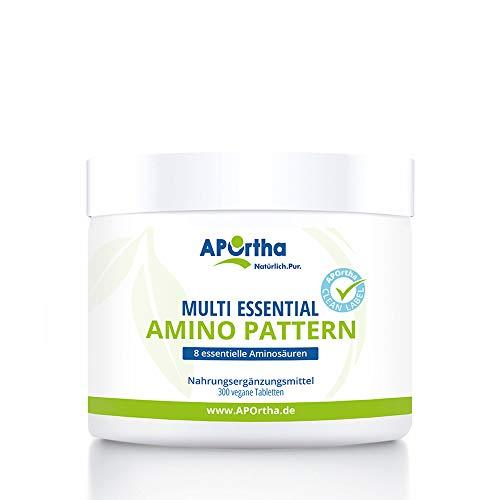 APOrtha Multi essential Amino Pattern I 300 Tabletten mit 8 essentiellen Aminosäuren nach Prof. Dr. Lucà- Moretti für eine optimierte Eiweißversorgung I Aminosäuren komplex hochdosiert vegane EAA