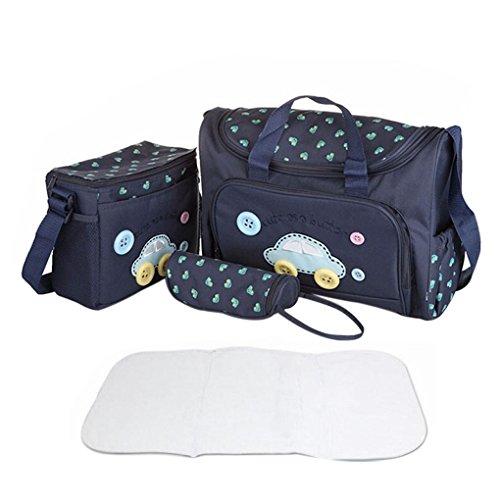 FakeFace Oxford Gewebe Cartoon 4er-Set Babytasche Wickeltasche Mutter Windeltasche Handtasche Schultertasche Flaschenhalter (Dunkelblau Wagen)