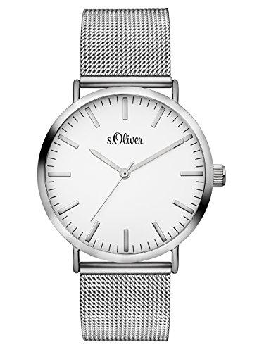 S.Oliver Damen Analog Quarz Armbanduhr SO-3145-MQ, Silber-Weiß