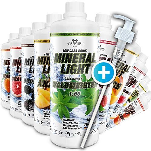 C.P. Sports Mineral Light Getränke Sirup Electrolyte Konzentrat 1 Liter Waldmeister inkl. DOSIERSPENDER