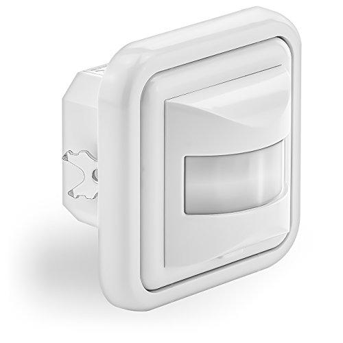 deleyCON 1x Infrarot Bewegungsmelder Unterputz Wandmontage Innenbereich Lichtsteuerung 160° Arbeitsfeld 9m Reichweite eingebauter Lichtsensor Weiß