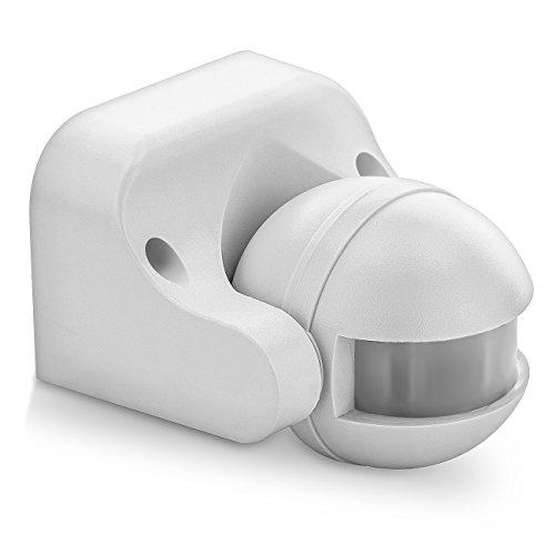 deleyCON 1x Infrarot Bewegungsmelder Aufputz Wandmontage Innen Außen Spritzwassergeschützt Neigbar 180° Arbeitsfeld 12m Reichweite Weiß