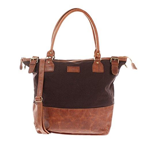 LECONI XL Shopper für Damen kleiner Weekender Beuteltasche große Frauen Schultertasche Wickeltasche Umhängetasche aus Canvas & Leder 50x41x20cm mokka LE2005-C