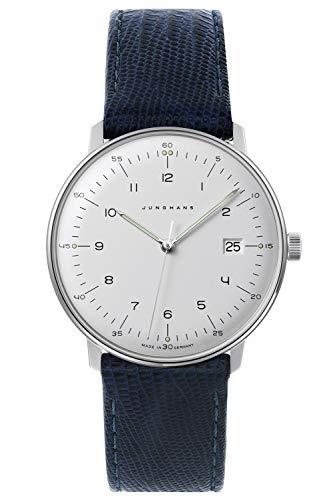 Junghans max Bill Quarz Armbanduhr mit 2 Lederbändern 041/446-Blau