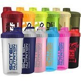 Scitec Nutrition - Shaker 12 Farben MIX Box ,700ml mit Sieb (6 Shaker)