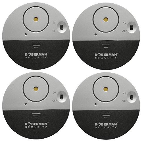 WER Ultra-Dünner Fensteralarm Glasbruchalarm Mini-Alarmanlage Aufkleber Alarmanlage mit Erschütterungssensor, Security Alarmsirene bis 100dB, 50m Reichweite Batteriebetrieb (4er Set, Schwarz))