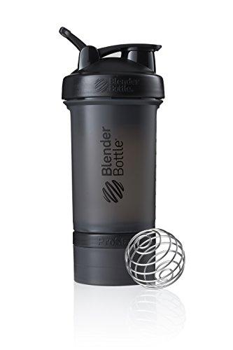 BlenderBottle ProStak Protein Shaker mit BlenderBall mit 2 Container 150ml und 100ml, 1 Pillenfach, optimal für Eiweiß, Diät und Fitness Shakes, skaliert bis 450ml, schwarz (650ml)