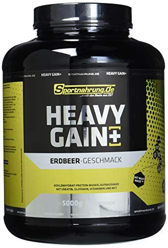 Sportnahrung.de Heavy Gain - der Top Weight Gainer angereichert mit Creatin, Glutamin, Vitaminen und MCT Erdbeere, 5000 g