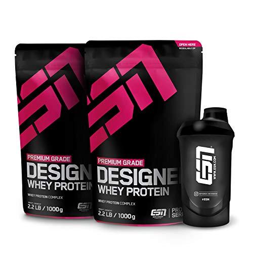 ESN Designer Whey Protein – 2x1000g + Gratis ESN Shaker – Vanilla – Eiweißpulver reich an essentiellen Aminosäuren (EAAs) – Sehr gut löslich – 66 Portionen – Hergestellt in Deutschland