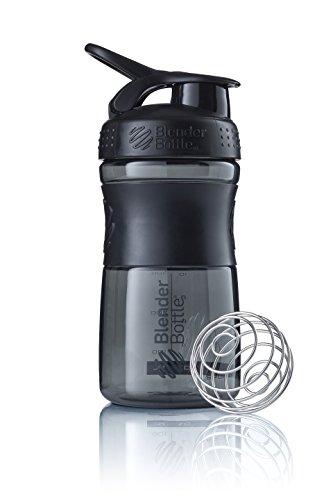 BlenderBottle Sportmixer Tritan Trinkflasche mit BlenderBall, geeignet als Protein Shaker, Eiweißshaker, Wasserflasche oder für Fitness Shakes, BPA frei, skaliert bis 500 ml, 590 ml, fashion schwarz