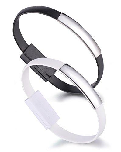 Yumilok Armband Ladekabel Datenkabel Micro USB Kabel für Android-Smartphones Samsung Galaxy S4 S5 S6 S7 Edge 2 Stücke(Schwarz, Weiß)