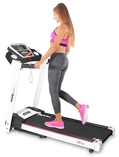 Miweba Sports elektrisches Laufband HT1000 - Incline 6{33a7b72a2d45b262d6ea24c6a0d9b4fafb612f677f4708a62562c88ed7c10b12} - Klappbar - 1,75 Ps - 16 Km/h - 12+4 Laufprogramme - Tablet Halterung - Große Lauffläche (Weiß)