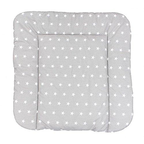 TupTam Baby Wickeltischauflage mit Baumwollbezug Gemustert, Farbe: Sterne Grau, Größe: 70 x 70 cm