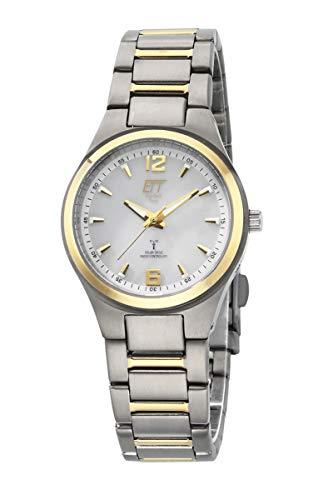 ETT Eco Tech Time Funk Solar Damen Uhr Analog mit Titan Armband ELT-11325-10M