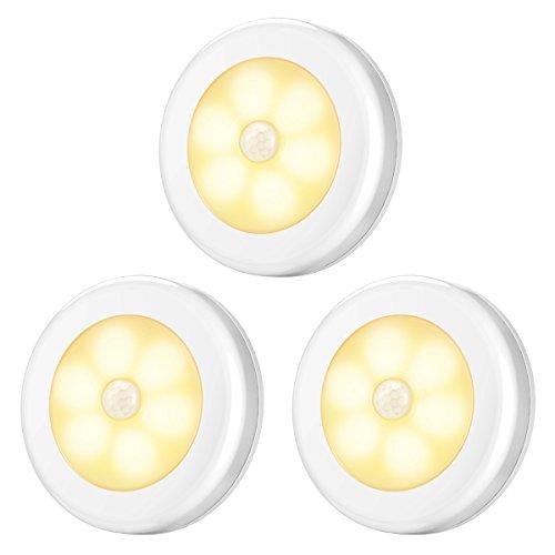 AMIR Nachtlicht mit Bewegungsmelder, Bewegungslicht mit Batterie, Auto ON/Off Nachtlicht, LED Sensor Licht, Schrankleuchten, LED Bewegungsmelder für Flur, Schlafzimmer, (Warmes Weiß)