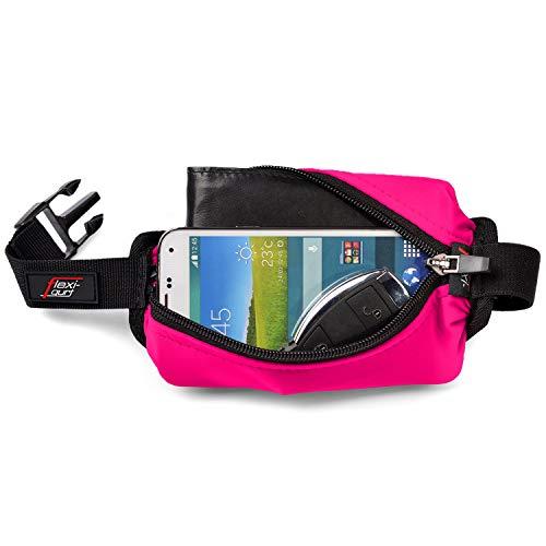 flexi-gurt pink - Dehnbare Bauch-Tasche, Flexible Gürtel-Tasche, Running-Belt, Startnummern-Band für Sport, Laufen, Joggen, Freizeit, Reisen, ideal für Wertsachen, Smartphone, Sportnahrung
