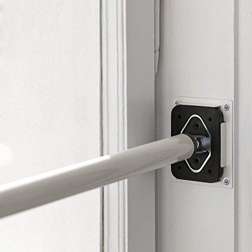 ALLEGRA Sicherungsstange für die Fenstersicherung und Türsicherung, Einbruchschutz für Fenster und Türen (2 x Ankerplatte Weiß, Weiß)