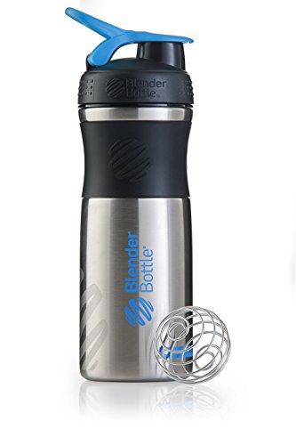BlenderBottle Sportmixer Edelstahl Trinkflasche mit BlenderBall, geeignet als Protein Shaker, Eiweißshaker, Wasserflasche oder für Fitness Shakes, BPA frei, skaliert bis 770ml, 820 ml, schwarz / cyan