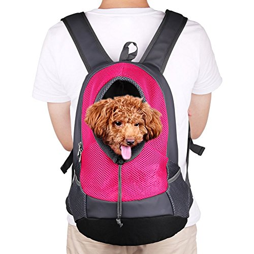 NHSUNRAY Pet Rucksack Träger für kleinen Hund-Katze-Puppy(8kgs Max) On-the-Go Travel Pet vorne hinten Tasche atmungsaktive Mesh Pup Softpack 42 * 38 * 20 cm (Rose Red)