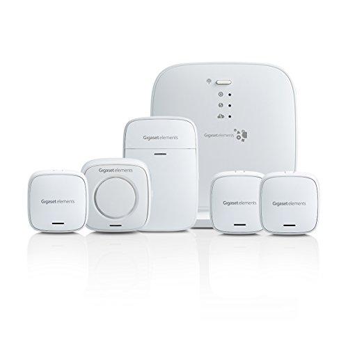 Gigaset Alarmanlage Haus Funk Komplettset für Einsteiger - mit lauter Alarmsirene, Bewegungsmelder, Tür-Alarm, 2x Fenster-Alarm - funktioniert mit Alexa und Google - Smart Home System