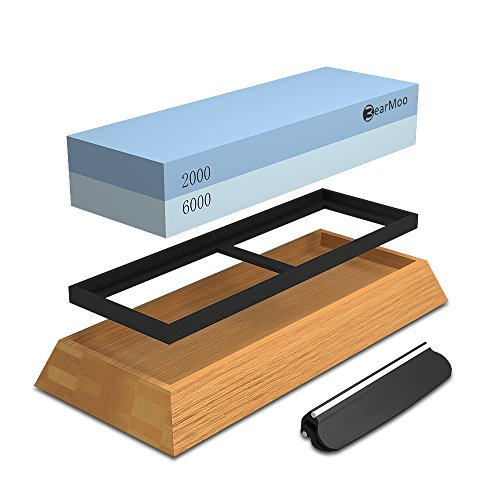 BearMoo Schleifstein Set Wetzstein mit 2000/6000 Körnung, Abziehstein für Messer inkl. Anleitung zum Messer schärfen und Gummi-Steinhalter sowie Bambus Basis und Messer-Halter