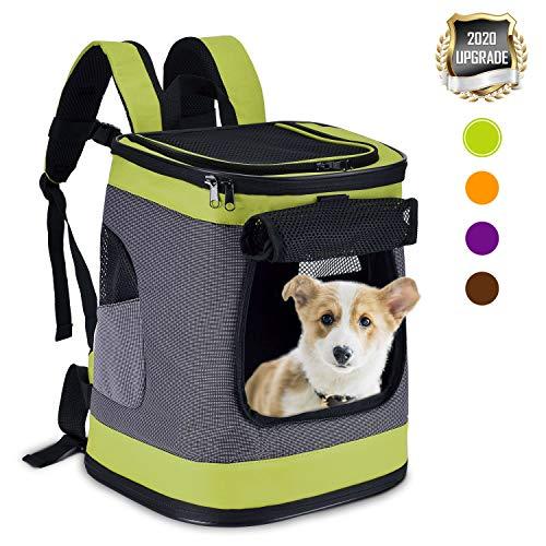 HAPPY HACHI Faltbar Weich Haustier Rucksack Rückenspritze Haustier Gepäckträger für Kartze Hunde mit einstellbar Polsterstuhl Schulter Gewebe Top-Openning Öffnung bis zu 10kg (Grün)