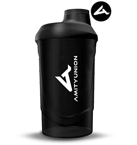 Eiweiß Shaker 800 ml mit Sieb - ORIGINAL Fitness Mixer - Protein Shaker auslaufsicher - BPA frei, Mit Skala für cremige Whey Proteinpulver Shakes, Protein Isolat und BCAA Konzentrate in Schwarz Deluxe
