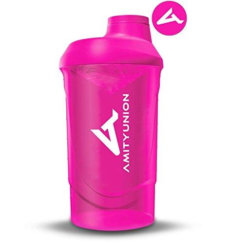 Frauen Protein Shaker 800 ml Pink Deluxe - ORIGINAL AMITYUNION - Eiweiß Shaker auslaufsicher - BPA frei mit Sieb, Skala für Cremige Whey Shakes, Gym Fitness Becher für Isolate und Sport Konzentrate