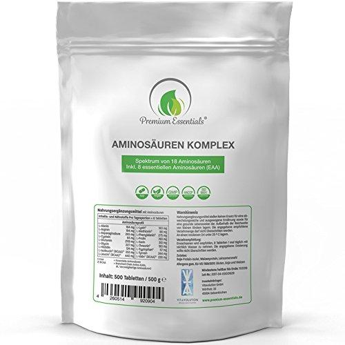 Aminosäuren-Komplex, 500 Tabletten á 1000mg (vegan) | Alle 18 Aminosäuren (BCAA & EAA) inkl. aller 8 essentiellen Aminos - Hochwertige Proteine hergestellt in Deutschland - Nachfüllpackung