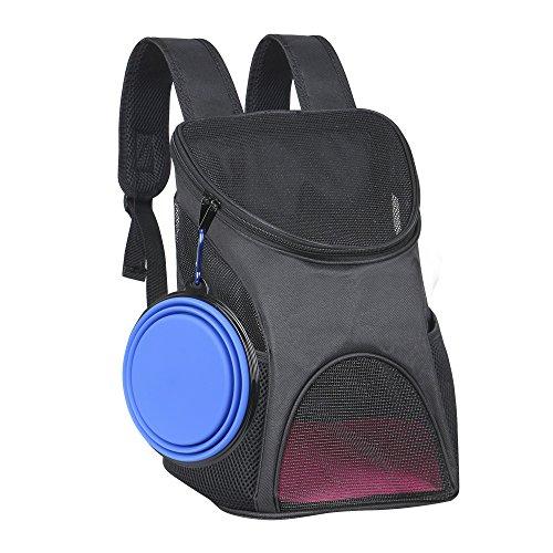 Ewolee keine Hunde Rucksack Haustiertragetasche Atmungsaktiv Netzfenster für klein Hunde und Katzen mit Klappbarer Reisenapf