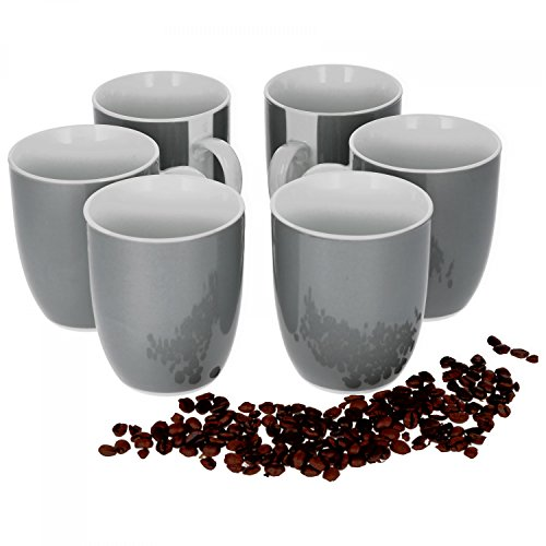 Van Well 6er Set Kaffeebecher Serie Vario Porzellan - Farbe wählbar, Farbe:grau