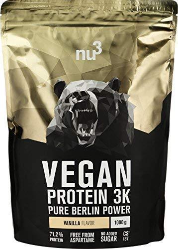 nu3 Vegan Protein 3K Shake - 1 Kg Vanilla Blend - veganes Eiweisspulver aus 3-Komponenten-Protein mit 71{9ad4ed38e977f501cfc52640cd4e9d39a8f460d6df3e6c4e59c66aafd36778bf} Eiweiss - Pulver zum Muskelaufbau mit Vanille Geschmack - Laktosefrei und zuckerfrei