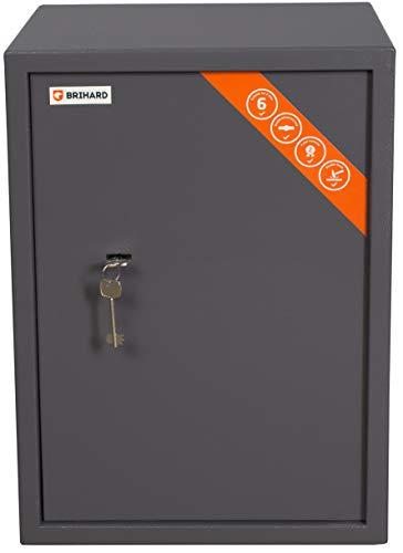 Brihard Business Tresor Safe mit Schlüssel-Schloss, 53x39x37.5cm (HxWxD), Titan Grau