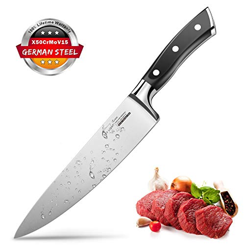 SKY LIGHT Kochmesser Küchenmesser 20cm Messer Profi Chefmesser Universalmesser aus hochwertigem Carbon Edelstahl, Extra Scharfe Messerklinge mit ergonomischer Griff